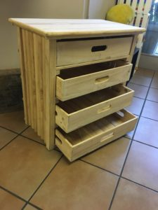 Bed side table draws open